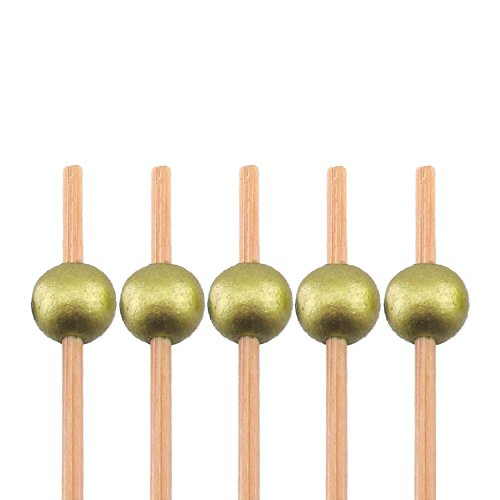 "BambooMN Decorative Ball End Cocktail Fruit Sandwich Picks Skewers for Catered Events, Holiday's, Restaurants or Buffets Party Supplies - 4.7"" Gold, 1000 Pcs"