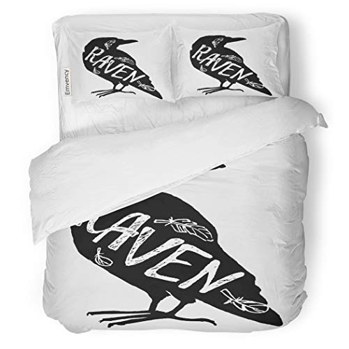 SanChic Duvet Cover Set Halloween Vintage Lettering Raven Black Silhouette of Crow Decorative Bedding Set with Pillow Sham Twin Size -