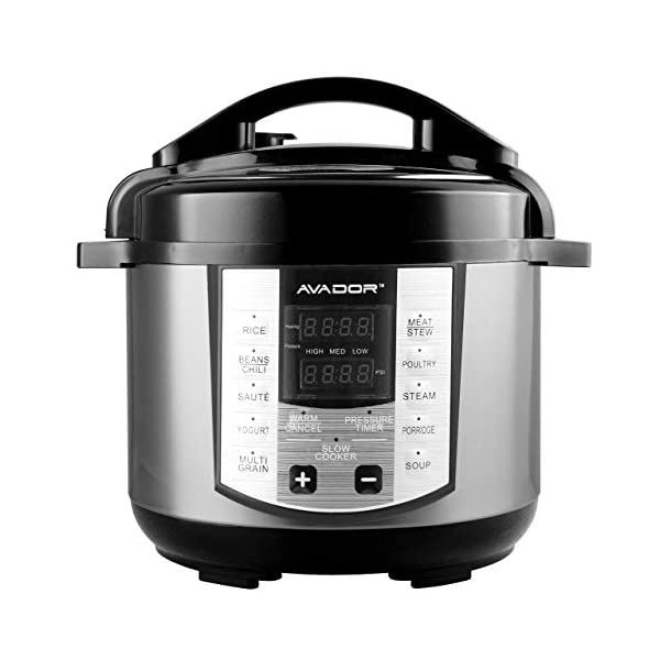 Avador AV-13CS603W 10 Preset Menu Pressure Cooker 6Qt/1000W, Stainless Steel Cooking Pot and Exterior 1