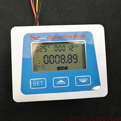 Digital Flow Meter - LCD Display Digital Temperature Tester Meter Measuring Flow Sensor Total Liter