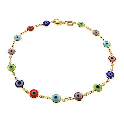 "10 Inch Multi-Color Gemstones & Yellow Gold Plated Brass Evil Eye Anklet Bracelet 10"""