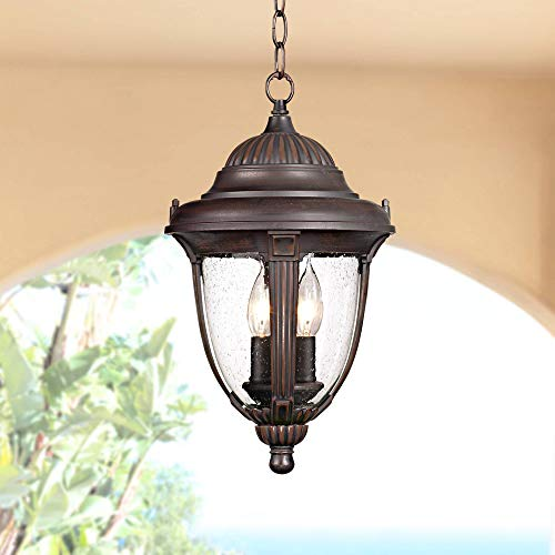"""Casa Sierra Traditional Outdoor Ceiling Light Hanging Lantern Bronze 16 1/2"""" Clear Seedy Glass Damp Rated for Exterior Porch - John Timberland"""