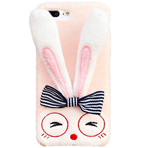 iPhone X Silicone Case (5.8 inch) Soft Crystal Foldable Long Ears Rabbit Doll-like with Cute Glasses Elegance Bowknot,Genuine Plush Fluffy Handmade Case Cover for iPhone X(Pink, iPhone X) ()