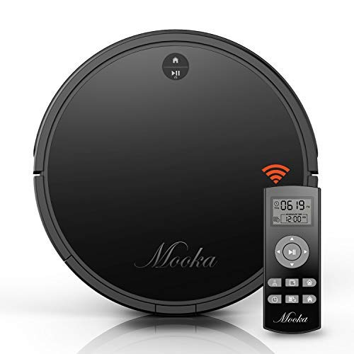 Robot Vacuum Cleaner, Mooka Auto Robotic Vacuum Cleaner with Powerful Suction, Self-Charging, Ultra Quiet, 2600mAH Battery for 2 hours, Suits Wooden/Tiled Floors & Light Carpets (Upgraded)