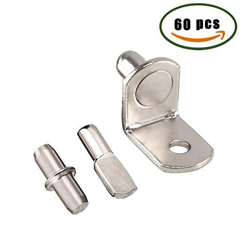 Shelf Support Pins L-Shaped Furniture Cabinet Closet Shelf Bracket Pegs w/ Hole, 60PCS Metal Spoon Cylindrical Style Shelf Holder by INNKER