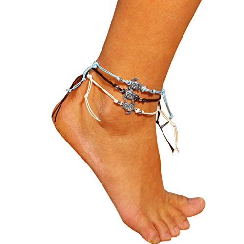 Sinfu Women's Simple and Stylish Anklet,3 Foot Chain-Sea Turtles Pendant Fashion Beach Section Anklet Foot Jewelry (Rhodium Turtle)
