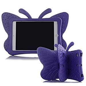 iPad mini Case,Kids Friendly Non-toxic Light Weight 3D Cute Cartoon Butterfly Design Shockproof Drop-proof EVA Foam Stand Tablet Case Cover for Apple iPad mini 1/2/3/4 - Purple