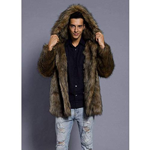 Winter Clásico Fur fashion Boy Long Coat with Hood Men's Down Men's Jacket Warm Sleeve Outerwear Quilted Jackets Laisla Ntel 2 Braun Winter Quilted Jacket 7w5fvq7