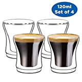 Ecooe Double Wall Thermo Espresso Cups Glasses 120ml Set of 4