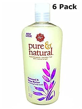 Pure Natural Body Wash Soothing Oatmeal Shea Butter 16 fl oz Pack of 6