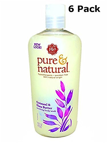 Pure & Natural Body Wash Soothing Oatmeal & Shea Butter 16 fl oz (Pack of 6)