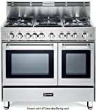 """Verona VEFSGG365NDSS 36"""" Pro-Style Gas Range with 5 Sealed Burners 2 Turbo-Electric Convection Ovens Manual Clean Infrared Broiler Bell Timer and Storage Drawer in Stainless"""