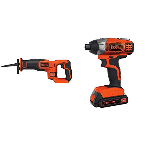 (BLACK+DECKER BDCR20B 20V Max Lithium Bare Reciprocating Saw with BLACK+DECKER BDCI20C 20V MAX Lithium Impact Driver)