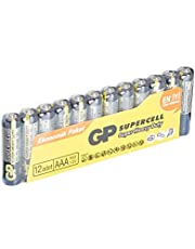 GP Batteries GP24PL Supercell R03/912/AAA İnce Pil, 1.5 Volt, 12'li Paket, Siyah/Sarı/Gri