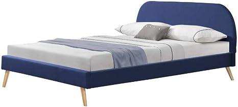 Polsterbett mit Matratze 180x200cm Doppelbett Bettgestell Lattenrost Leinen Blau