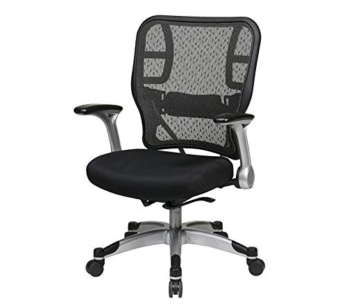Deluxe R2 Back and Padded Mesh Seat, Self Adjusting Control, Platinum Finish Flip Arms and Platinum Coated Base Managers Chair ()