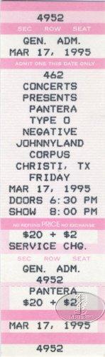 Pantera 1995 Unused Concert Ticket Dimebag Darrell