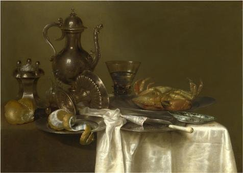 (The Perfect Effect Canvas Of Oil Painting 'Willem Claeszoon Heda,Pewter And Silver Vessels And A Crab,about 1633-1667' ,size: 30x42 Inch / 76x107 Cm ,this High Quality Art Decorative Canvas Prints Is Fit For Garage Decoration And Home Gallery Art And Gifts)
