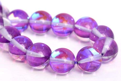 (10mm Violet Mystic Aura Quartz Beads Grade Round Gemstone Loose Beads 7.5'' Crafting Key Chain Bracelet Necklace Jewelry Accessories Pendants)
