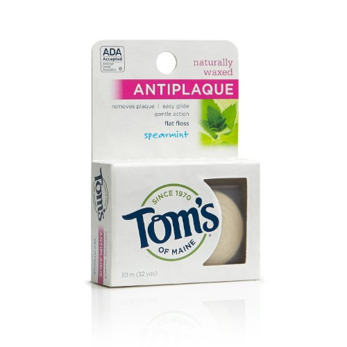 Du Maine naturel ciré Antiplaque plat Floss, menthe verte, 32 Yards Tom (Pack de 6)