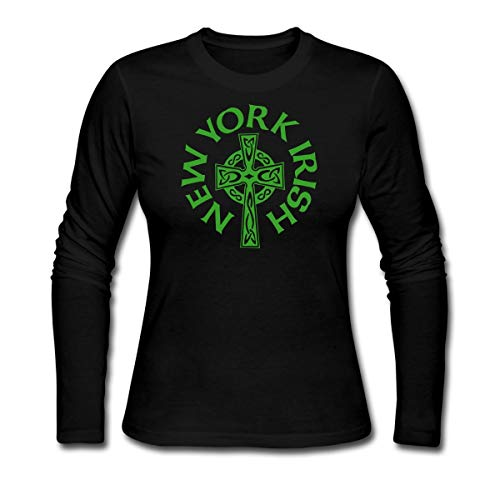 Spreadshirt New York Irish Celtic Cross Women's Long Sleeve Jersey T-Shirt, L, Black