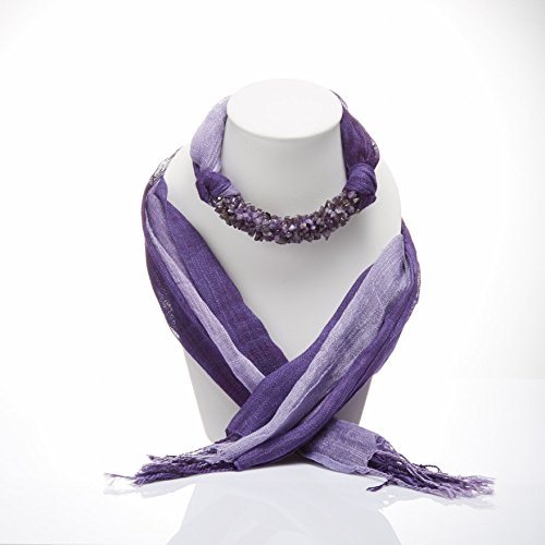 Purple Two Tone Fashion Jewelry Scarf Necklace Decorations With Amethyst