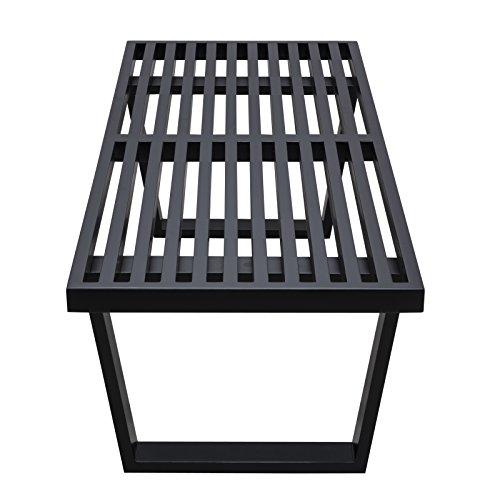 LeisureMod Mid-Century Modern Inwood Platform Wood Bench, 4', Black by LeisureMod (Image #7)