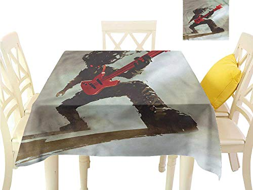 WilliamsDecor Outdoor Picnics Fantasy,Hipster Rocker Guitar Outdoor Tablecloth W 36