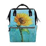 Backpack Blue Watercolor Sunflower Mens Laptop Backpacks Shoulder Hiking Daypack