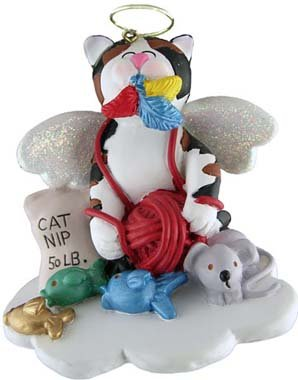 Calico Cat In Heaven Christmas Ornament