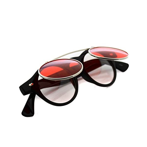Flip up Cyber Steampunk Round Circle Retro Sunglasses 4