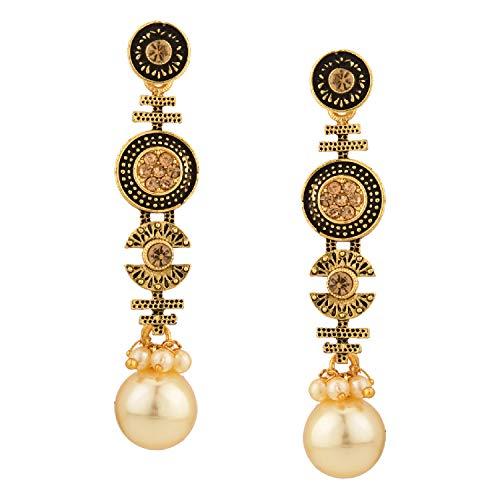 Efulgenz Boho Vintage Antique Oxidized Gold Ethnic Gypsy Tribal Indian Bollywood Crystal Pearl Drop Dangle Earrings Jewelry Set