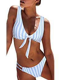 Women's Sexy Detachable Padded Cutout Push Up Striped...