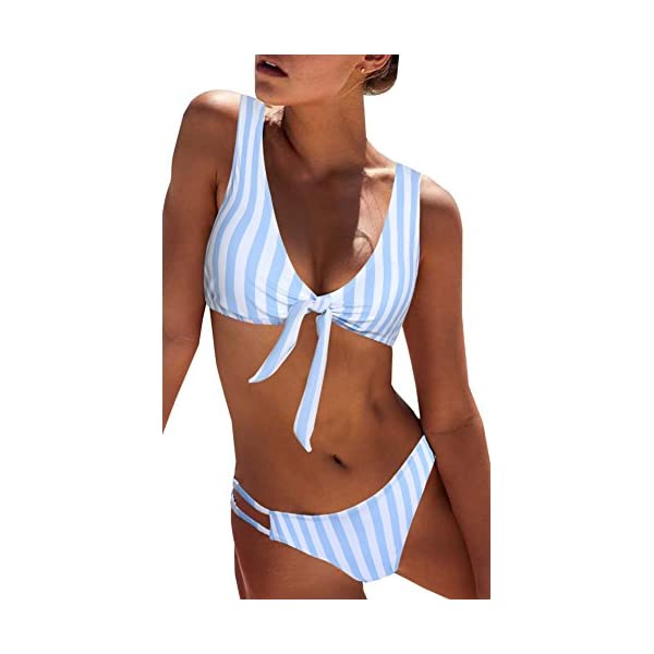 Blooming Jelly Donne Bikini Set a Righe Tie Knot Anteriore, Cut-out Fondo Inferiore Rimovibile Imbottito Costume da… 1 spesavip