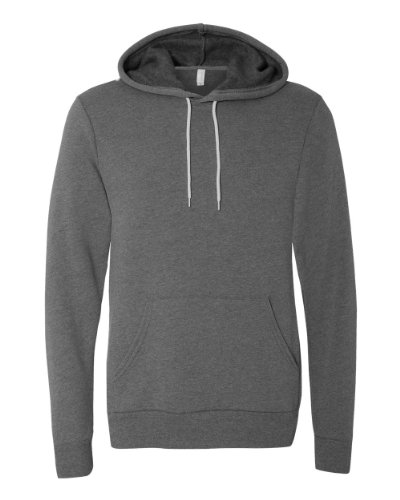 Bella Hooded Pullover (Bella 3719 Unisex Poly-Cotton Fleece Pullover Hoodie - Deep Heather, Large)