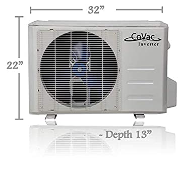 CoVac 12,000 BTU Ductless Mini-Split Air Conditioner Inverter SEER 19 Cooling Heating Dehumidifier 120v 60hz – PreCharged Condenser – Ultra Quiet – AHRI – 16 Feet Line Set Accessories
