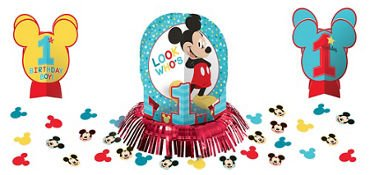 1st Birthday Mickey Mouse Table Decorating Kit 23 piece Party Supplies Mickey Fun to be One! ()