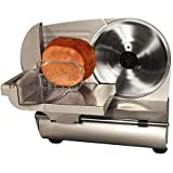 "Meat and Vegetable Slicer 9"" , Stainless Steel with Adjustable Thickness Control, Food Pusher with Teeth for Controlled Slicing, Removable Easy-clean Blade"