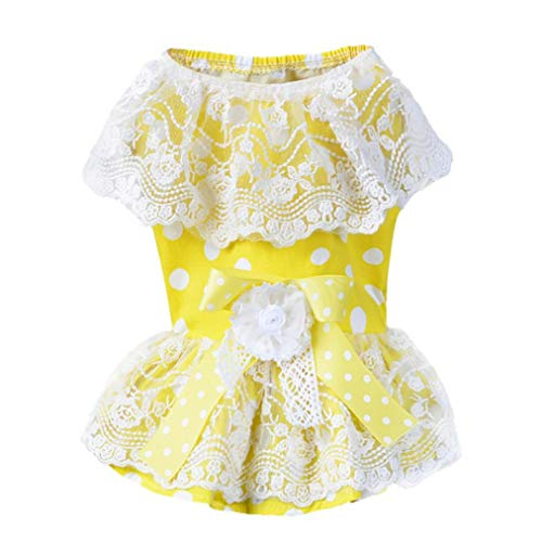 Jim-Hugh Summer Small Pet Dogs Wave Point Dresses Vestidos Clothes for Lace Dog Apparel ()