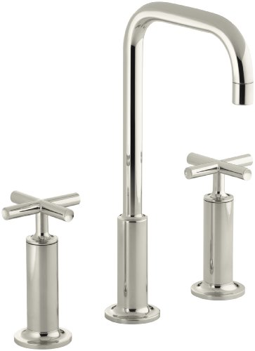 (KOHLER K-14408-3-SN Purist Widespread Bathroom Sink Faucet with High Cross Handles and High Gooseneck Spout, Vibrant Polished Nickel)