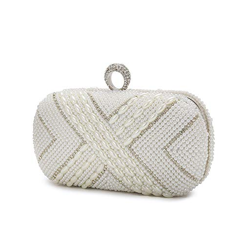 Clutch Pearl Bag Wedding Fashion handbags Diamond style8 with chain Evening Evening Bag Beaded white nXAqwXC