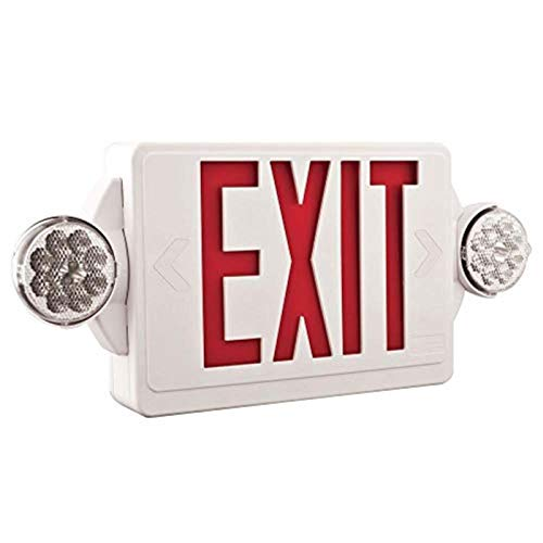 Lithonia Lighting LHQM R M6 LED Thermoplastic Casing Emergency Exit Sign With 2-Round Head Lamp, 180 Lumens, 120 Volts, 4 Watts, Red