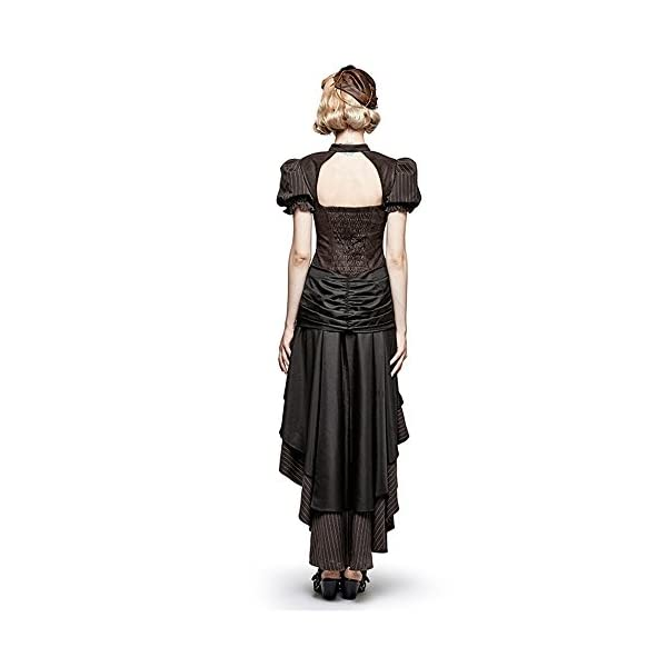 Steampunk Coffee Puff Sleeve High Low Evening Dress Palace Burn-out Gear Shape Party Dress 5
