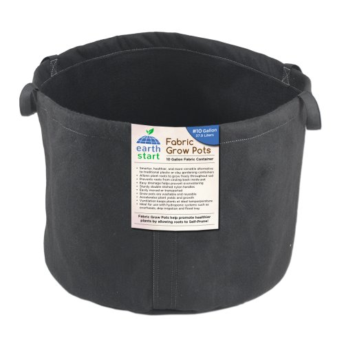Earth Start 10 Gallon Fabric Grow Pots Soft Container, Black, Pack of 5