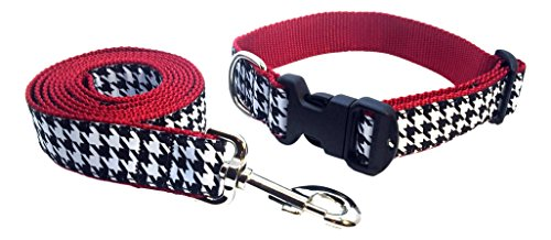 (Preston Houndstooth Dog Collar and Leash Set - Black and White Check Ribbon on Crimson Red Nylon Webbing (Medium))