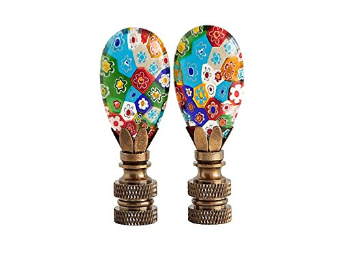 Colorful Millefiori Glass Lamp Finials, A Matching Pair