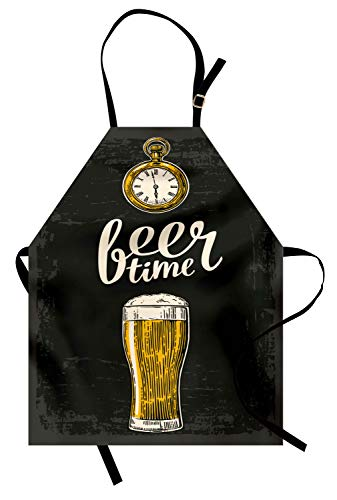 Ambesonne Modern Apron, Beer Time Typography with Glass and Old Antique Lifestyle Illustration, Unisex Kitchen Bib Apron with Adjustable Neck for Cooking Baking Gardening, Green Yellow