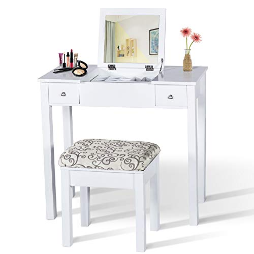 Homevibes Vanity Makeup Table Set Drawers Girls Dressing Table Bedroom Make Up Desk Flip Top Mirror Cushioned Stool Women, White