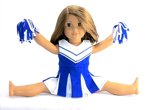Doll-Clothes-Blue-and-White-Doll-Cheerleader-Outfit-includes-Pom-Poms-Fits-18-American-Girl-Dolls-Gotz-Our-Generation-Madame-Alexander-and-others