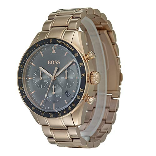 65d2512bb01 Hugo Boss Watch Mens Chronograph Quartz Watch with Rose Gold Strap 1513632   Amazon.co.uk  Watches